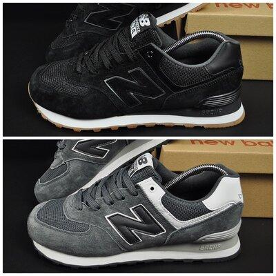 Мужские кроссовки New Balance черные, серые, замша