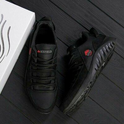 Мужские кожаные кроссовки ICEFIELD Black
