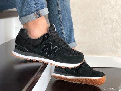 New Balance 574 кроссовки мужские демисезонные черные с белым 10337