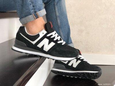 New Balance 574 кроссовки мужские демисезонные черные с белым 10339