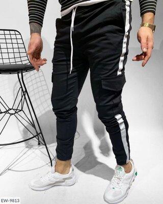 Стильные мужские штаны джогеры с карманом