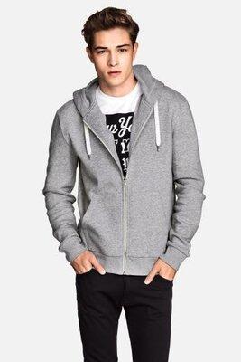 Мужская толстовка худи теплая на флисе с капюшоном меланж H&M M