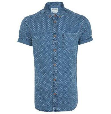 Мужская джинсовая рубашка с коротким рукавом в узорчик синяя голубая River Island M