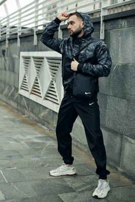 Комплект Nike Windrunner Jacket камуфляж серо-черный Штаны President черные Барсетка в подарок