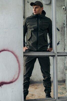 Мужской костюм хаки демисезонный Softshell Intruder. Куртка мужская хаки, штаны утепленные.