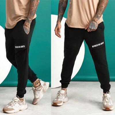 мужские спортивные штаны брюки трикотажные на манжетах с карманами спортивная мужская одежда двунить