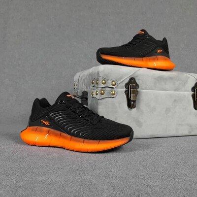 Мужские кроссовки 10419 Reebok Zig Kinetica Чёрные с оранжевым