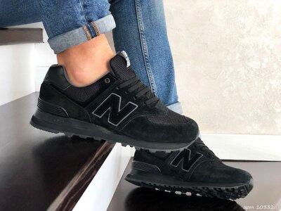 Кроссовки мужские New Balance 574, черные, замш/текстиль