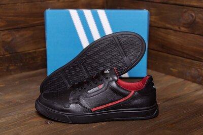 Мужские кожаные кеды Adidas Stan Smith Black