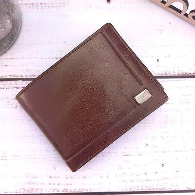 Мужское кожаное портмоне маленькое коричневое rovicky cpr-021