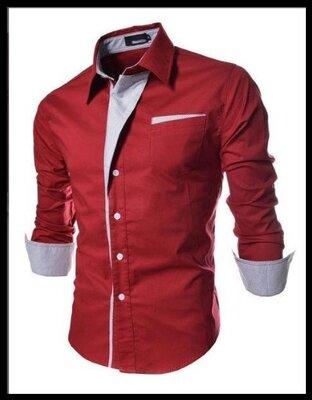 Рубашка приталенная M, L, XL, XXL красная код 2