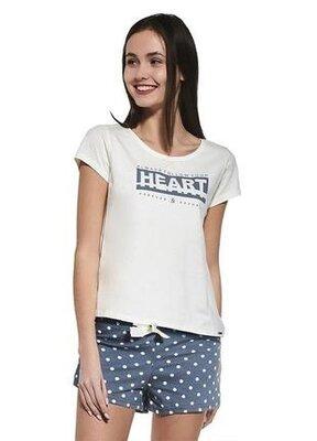 Женский домашний хлопковый комплект белого цвета cornette 363/33 heart