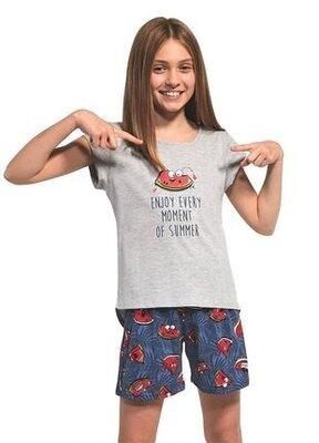 Летняя хлопковая пижама на девочку цвета серый меланж cornette 360/73 watermelon 4