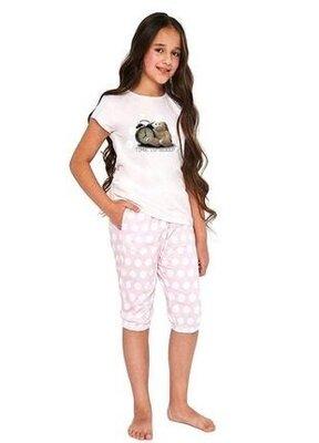Летняя хлопковая пижама на девочку розового цвета cornette 571/89 time to sleep