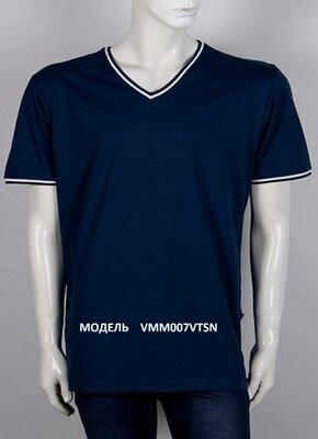 Футболка мужская с V воротом, цвет синий темный тон, батал