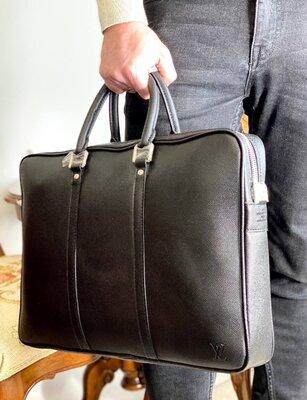 Сумка портфель кожаный мужской черный брендовый Луи Витон