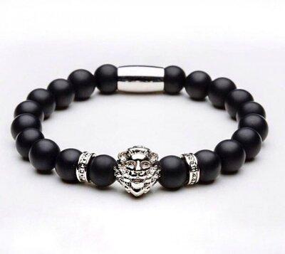 Мужской браслет из натуральных камней черный Lion Black Silver, каменный браслет со львом