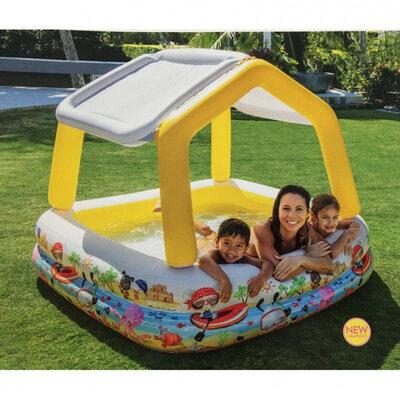 Бассейн надувной домик с навесом intex 57470 157х157х22 см