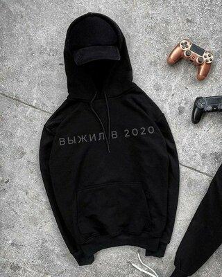 Худи с надписями топовая модель мужская молодежная подростковая кофта свитер черная с капюшоном маст