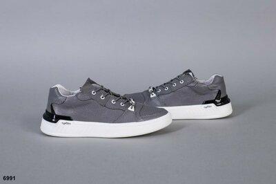 Стильные мужские кроссовки кеды спортивные туфли серые натуральная кожа
