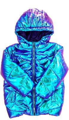 Куртка блестящая на девочку Польша бренд Reserved. Курточка на дівчинку 92 см голограмма хамелеон