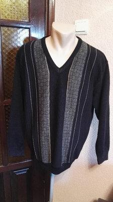 Мужской теплый свитер полушерсть черный,размер l 48-50 от kingston