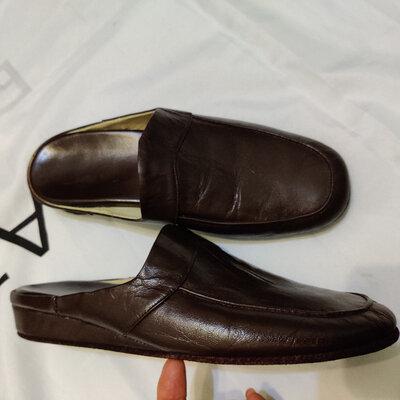 Мужские тапочки из натуральной кожи домашние туфли производства италия р.40 26см