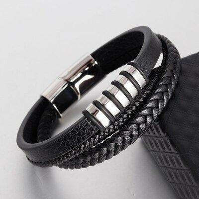 Мужской кожаный браслет черный, серебристый плетеный, браслет из кожи