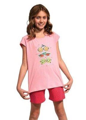 Летняя хлопковая пижама на девочку розового цвета cornette 788/74 fruits