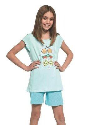 Летняя хлопковая пижама на девочку бирюзового цвета cornette 788/75 fruits 2