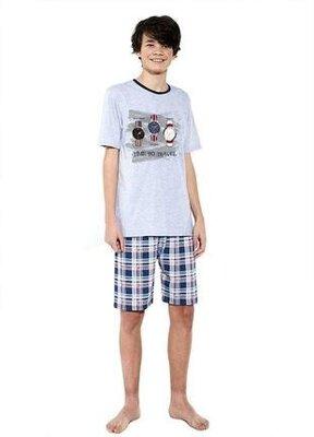 Хлопковая пижама на подростка цвета серый меланж cornette 551/34 time to travel