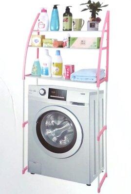 Полка-Стеллаж над стиральной машиной 152 см Style WM-63 бело-розовая.