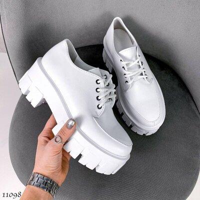 Кожаные женские туфли на платформе, белые туфли платформа, шкіряні жіночі туфлі 36,38,39р код 11098