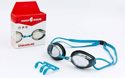 Очки для плавания стартовые MadWave Streamline 045701 поликарбонат, силикон 3 цвета