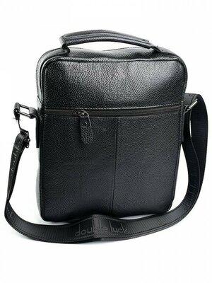 Мужская кожаная чёрная сумка
