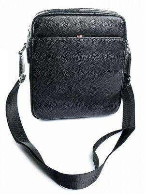 Мужская кожаная сумка чёрного цвета
