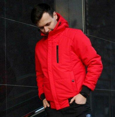 Мужская демисезонная весенняя утепленная куртка курточка бомбер ветровка короткая стильная красная