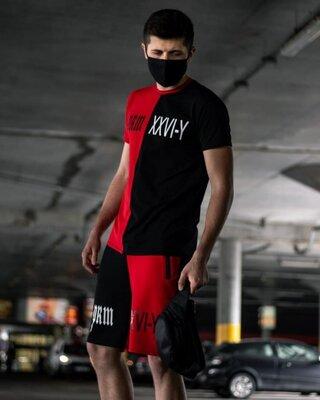 Sad smile летний футболка шорты красно-черный