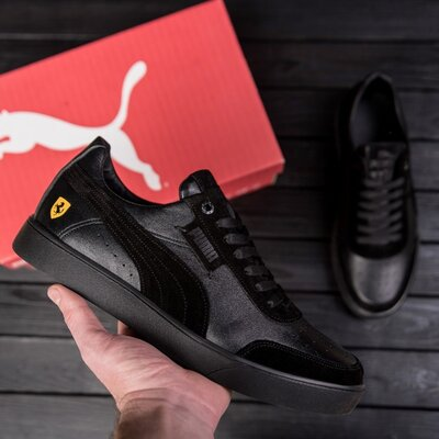 Мужские кожаные кроссовки Puma Ferrari Black
