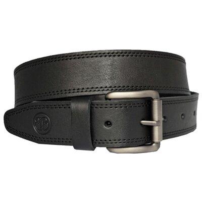 Кожаный мужской ремень черный со строчкой под джинсы superbelt3
