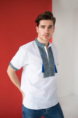 Ошатна чоловіча вишита сорочка з коротким рукавом 40-58р