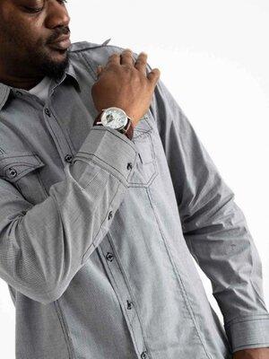 Рубашка мужская светло-серая в клетку Bertigo