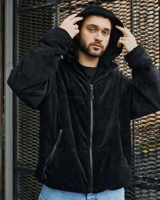Куртка демисезонная мужская вельветовая черная