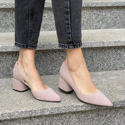 Туфли лодочки с острым носком из натуральной кожи на низком каблуке 5см