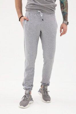 Мужские светло-серые трикотажные штаны с боковыми тесёмками
