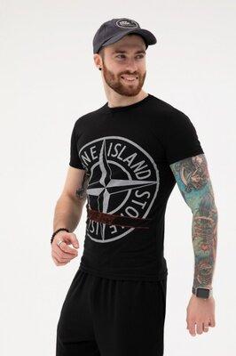 Мужская чёрная хлопковая футболка с крупным принтом
