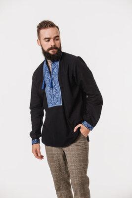 Стильна чоловіча вишиванка з блакитним орнаментом 42-56р