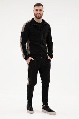 Мужской чёрный с хаки спортивный костюм из трикотажа
