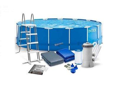 Продано: Каркасный круглый бассейн Intex 28242 диаметр 457см/объем 16800л с фильтр-насосом лестницей подстилк