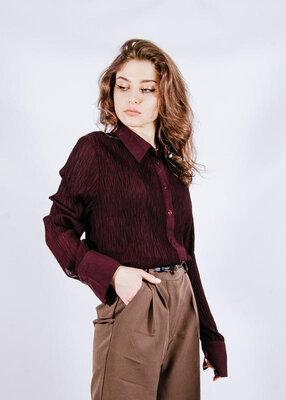 Бордовая блузка классическая, бордова блузка класична